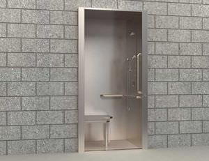 Stainless Steel Shower Cubicle / Rectangular / With Hinged Door