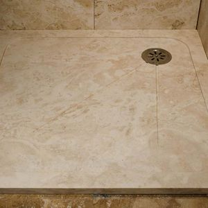 Rectangular Shower Base / Travertine / With Channel Drain