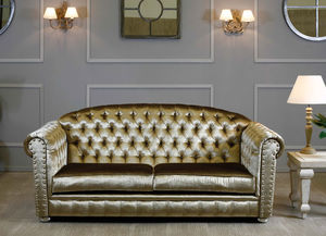 Beau Traditional Sofa / Leather / 2 Person / Golden