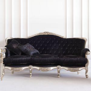 New Baroque Design Sofa / Fabric / 3 Seater / Black