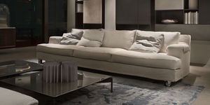 Contemporary Sofa Fabric 3 Seater On Casters