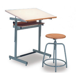 Contemporary Drafting Table / Wooden / Metal / Made From Recycled Materials