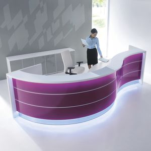 corner reception desk illuminated glass