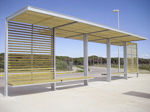 wooden bus shelter / galvanized steel