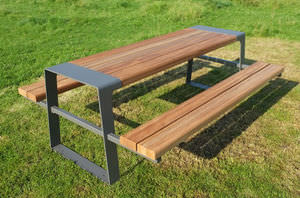 Contemporary Picnic Table / Wooden / Galvanized Steel / Stainless Steel