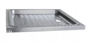 Beau Square Shower Base / Stainless Steel / Non Slip