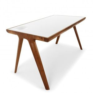 oak desk walnut leather scandinavian design - Scan Design Desk