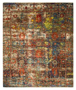 Contemporary Rug Patterned Wool Silk