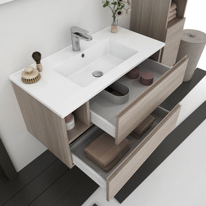 Wall Hung Washbasin Cabinet Wooden Resin Pvc Round 02
