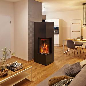 wood heating stove corner metal