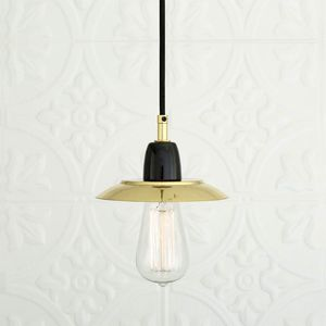 Pendant Lamp Traditional Polished Brass Glass