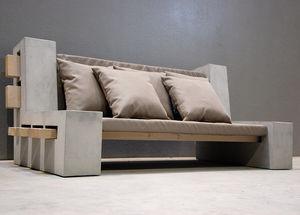 Contemporary Sofa / Concrete / 3 Seater / Brown