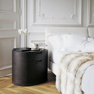 Contemporary Bedside Table Wooden Oval With Drawer