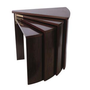 Art Deco Nesting Tables / Mahogany / Triangular / By Pierre Chareau