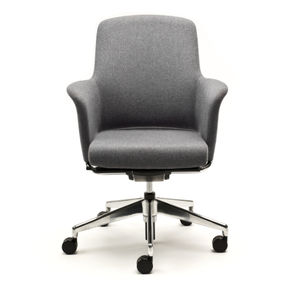 Contemporary Office Armchair / Fabric / Leather / Adjustable Height