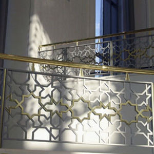 Brass Railing / With Panels / Indoor / For Stairs