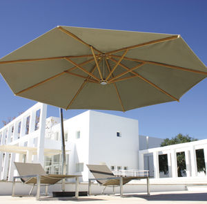 Offset Patio Umbrella Teak Stainless Steel Aluminum