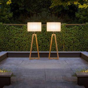 Floor Standing Lamp / Contemporary / Stainless Steel / Teak