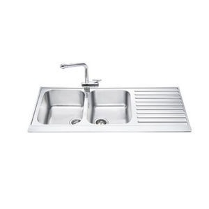 2 Bowl Kitchen Sink Stainless Steel With Drainboard