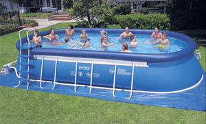 above ground easy set swimming pools with metal frame supports 61225 1506593 Easy Set Swimming Pools