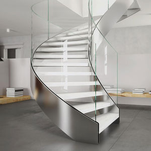 Circular staircase / lateral stringer / metal frame / wooden steps