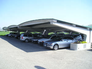 Commercial building carport