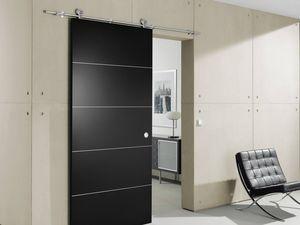 Door fastening system / in wood / sliding