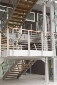 Exterior staircase / half-turn / for commercial buildings