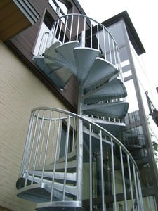 Exterior staircase / spiral / frame / with metal steps