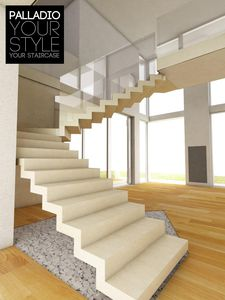 Open staircase / half-turn / hanging / stone