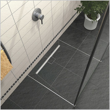 Lovely Square Shower Base / Ceramic / With Channel Drain / Flush. TUB LINE LUX  ELEMENTS