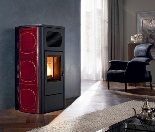 pellet heating stove / contemporary / ceramic / cast iron
