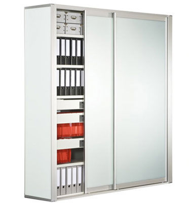 Charmant Tall Filing Cabinet / Low / Wooden / With Sliding Door