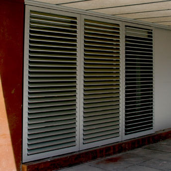 sliding shutter / aluminum / door / louvered
