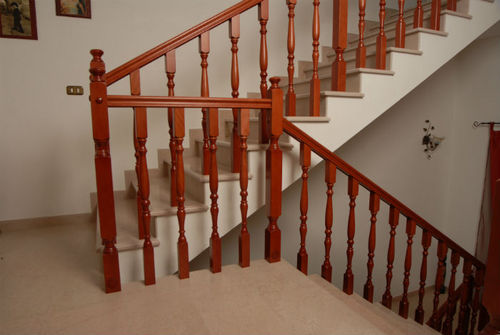 wooden railing / with bars / indoor / for stairs