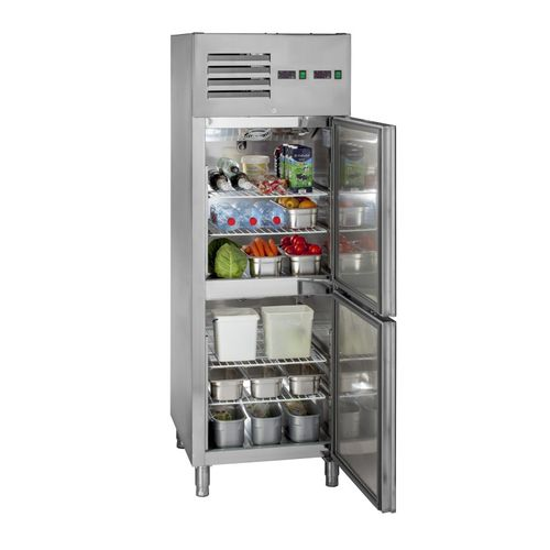 commercial refrigerator-freezer / upright / stainless steel / internal freezer compartment