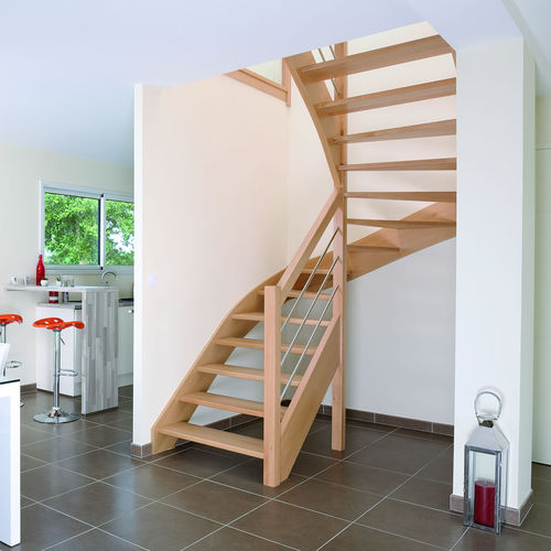 Half-turn staircase / quarter-turn / wooden steps / wooden frame AUTHENTIQUE RIAUX ESCALIERS