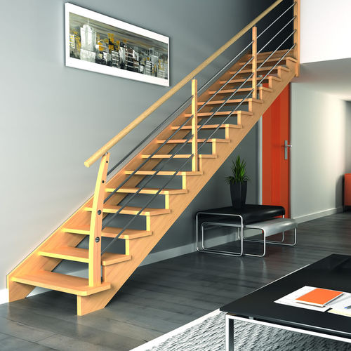Quarter-turn staircase / straight / spiral / wooden steps ÉVOLUTION RIAUX ESCALIERS