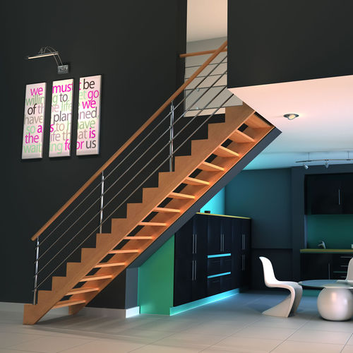 Straight staircase / wooden steps / wooden frame / without risers ALLIAGE RIAUX ESCALIERS