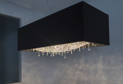 contemporary chandelier / crystal / oak / halogen