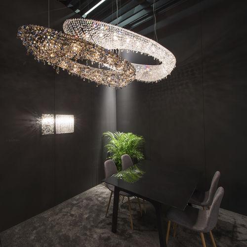 contemporary chandelier / crystal / halogen / handmade