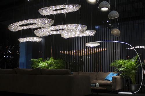 floor-standing lamp / contemporary / crystal / handmade
