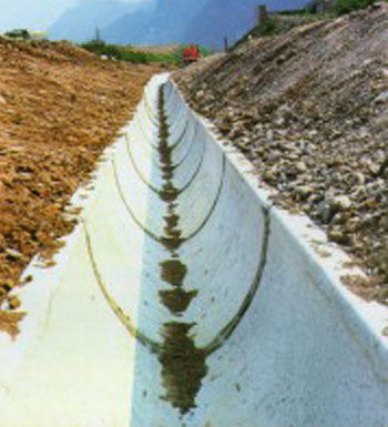 street drainage channel / fiber-reinforced concrete / sloped