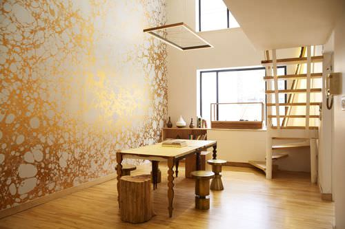 Contemporary wallpaper / patterned / metallic / handmade WABI CLOUD CALICO WALLPAPER