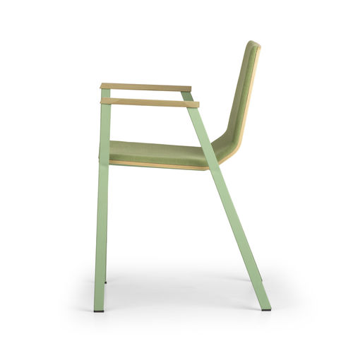 Contemporary visitor chair / fabric / wooden / with armrests MARINA by Leonardo Rossano True Design srl