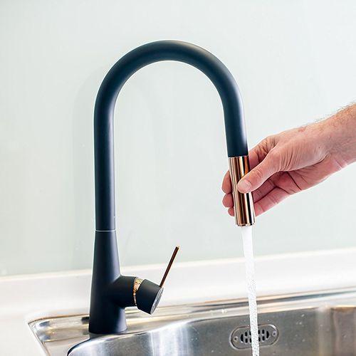 metal mixer tap / ceramic / kitchen / 1-hole