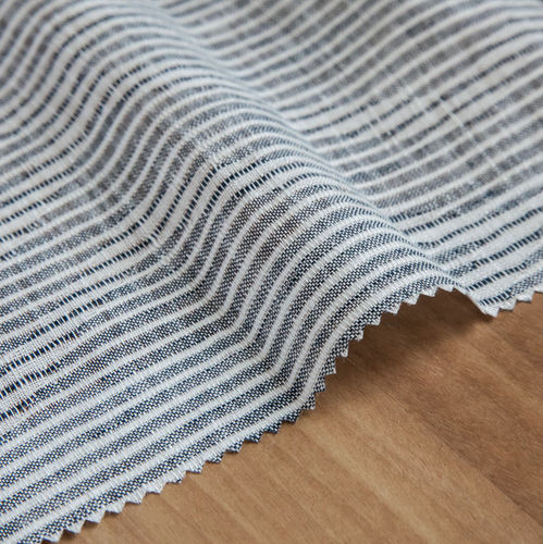 curtain fabric / striped / linen