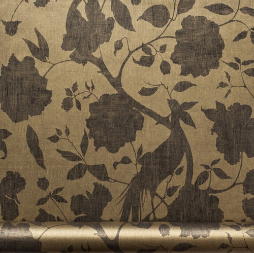 contemporary wallpaper / floral pattern / brown / washable