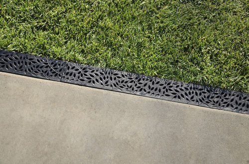 patio drainage channel / plastic / with grating