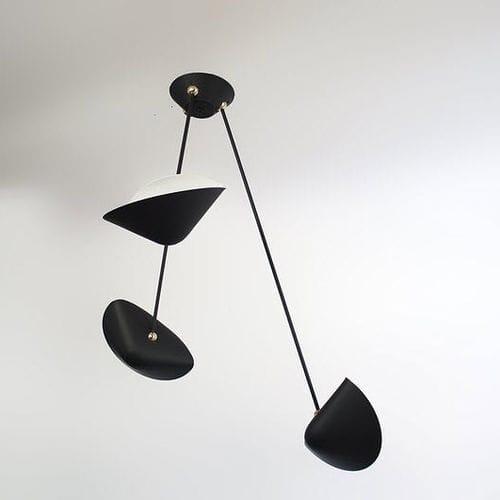 contemporary ceiling light / aluminum / brass / halogen